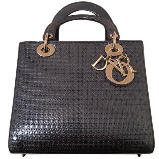 Lady Dior blue metallic leather handbag