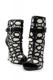 SERGIO Rossi Black and White Ankle Bootie