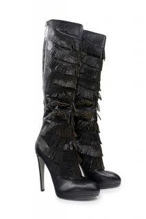 Sergio Rossi Black Fringed Boot Size 40