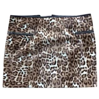 Joseph Animal Print Lambskin Mini Skirt