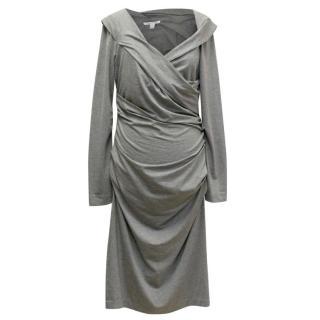 Diane von Furstenberg Ruched Long Sleeved Grey Dress