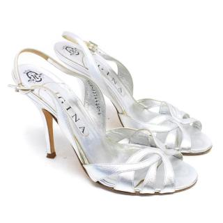 Gina Silver Leather Slingback Sandals
