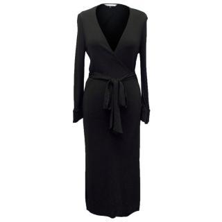 Diane von Furstenberg Black Long Sleeved Wrap Dress
