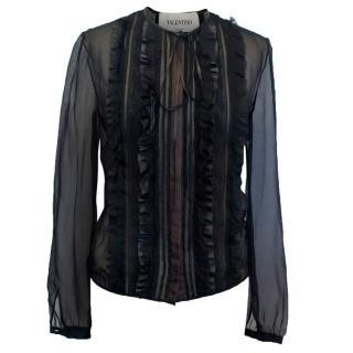 Valentino Black Sheer Blouse