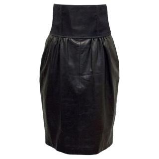 Yves Saint Laurent Black Leather and Mesh Skirt