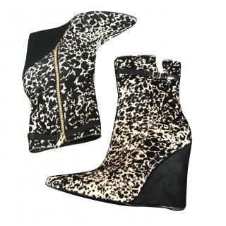 Burberry Prorsum Animal Print Wedge Boots