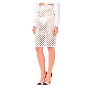PA5H White Beaded Mesh Midi Skirt
