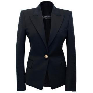 Balmain Black Tailored Blazer with Gold Button