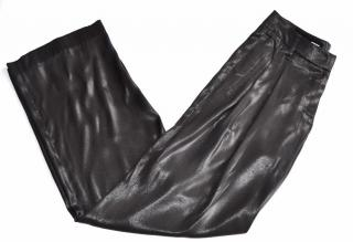 Brunello Cucinelli black silk metallic trousers