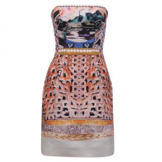Mary Katrantzou Strapless Placement Print Dress