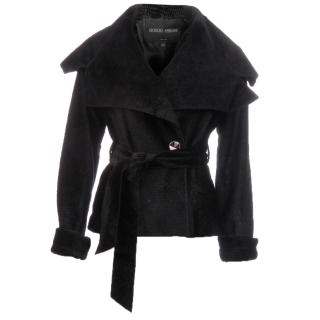 Giorgio Armani Baby Calf Hair Belted Jacket