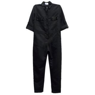 PA5H Black Silk Jumpsuit with Black Beading