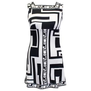 Emilio Pucci Black and White Printed Mini Dress