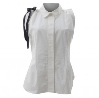 Louis Vuitton Sleeveless Cotton Shirt with Contrast Tie