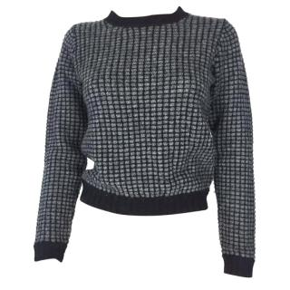 Kenzo Grey Wool Square Print Sweater