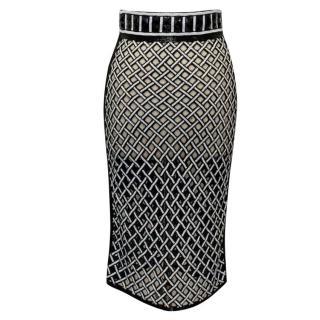 PA5H Black and White Beaded Mesh Midi Skirt
