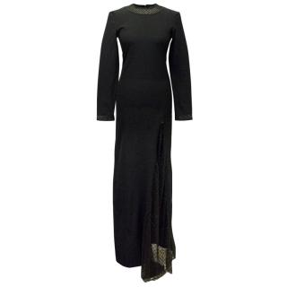 PA5H Long Black Dress with Embellishment