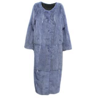 PA5H Long Periwinkle Mink Fur Coat