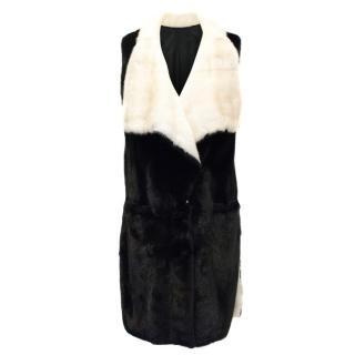 PA5H Black and White Mink Fur Coat