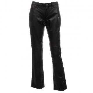 Ralph Lauren Collection Leather Boot-Leg Trousers