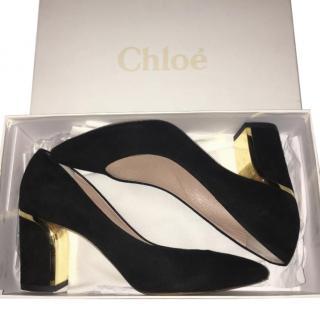 Chloe Black Suede Heeled Shoes