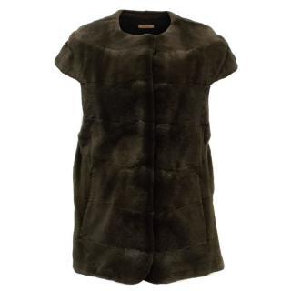 PA5H Brown Cap Sleeve Mink Fur Jacket