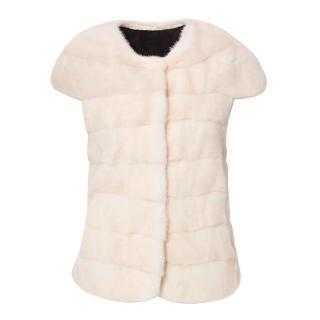 PA5H Cream Cap Sleeve Mink Fur Jacket