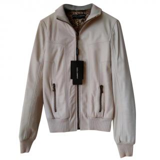 Dolce & Gabbana Womens White Leather Jacket