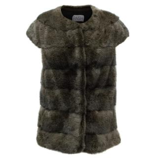 PA5H Dark Grey Cap Sleeve Mink Fur Jacket