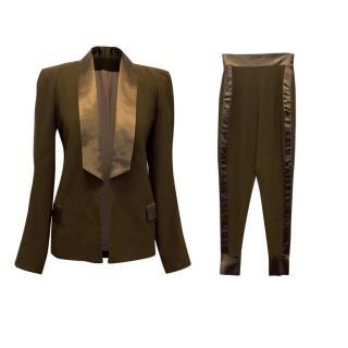 PA5H Khaki Green Tuxedo with Silk Trims