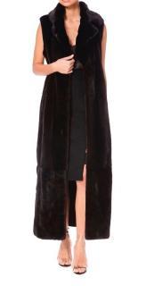 PA5H Black Sleeveless Mink Fur Coat