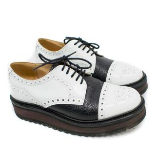 Grenson for Giles Black and White Platform Brogues