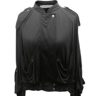 Christian Dior Black Silk Bomber Jacket