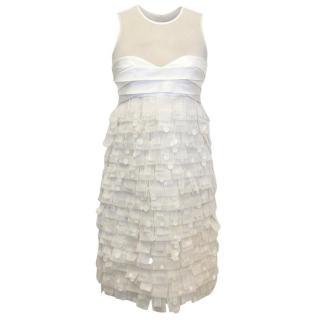 Paule Ka Cream Silk Sequinned Dress