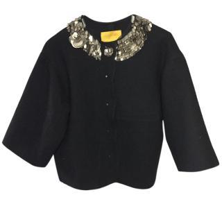 Lanvin Jacket with Metal Embellished Piallette collar