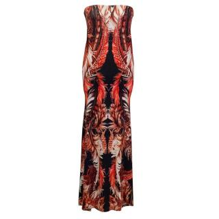 Roberto Cavalli Red and Black Printed Maxi Dress