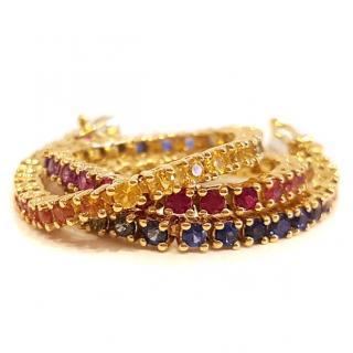 Designer Rainbow Sapphire Bracelet 18ct Gold