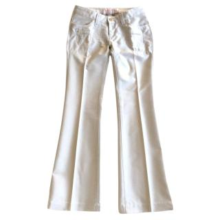 Barbara Bui silver grey flared cotton mix trousers