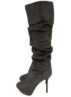 Sergio Rossi Grey Suede Boots