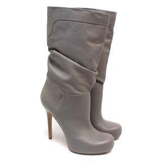 Alexander McQueen Grey Leather Heeled Boots