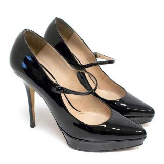 Yves Saint Laurent Black Patent Leather Mary Jane Pumps