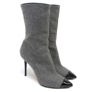 Jimmy Choo Grey Heeled Ankle Boots with Leather Toe Caps