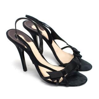 Chloe Black Satin Heeled Sandals