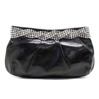 Gina Black Leather Clutch with Diamante Trim