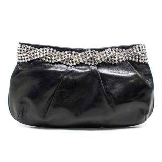 Gina Black Leather Clutch with Diamante Trim