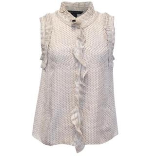 Marc Jacobs Sleeveless Silk Blouse with Ruffle Details