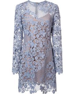 Self Portrait 3D floral dress in Dove Grey