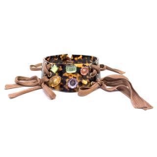 Missoni Tortoise Shell Choker with Jewel Embellishments
