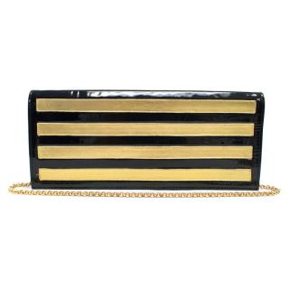 Gina Black and Gold Patent Leather Clutch