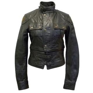 Belstaff Distressed Dark Brown Leather Jacket